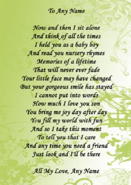Pale Green Son Poem Award Personalised Certificate
