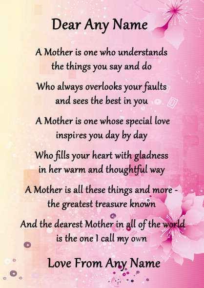 Pink & Yellow A Mother Is Personalised Poem Certificate