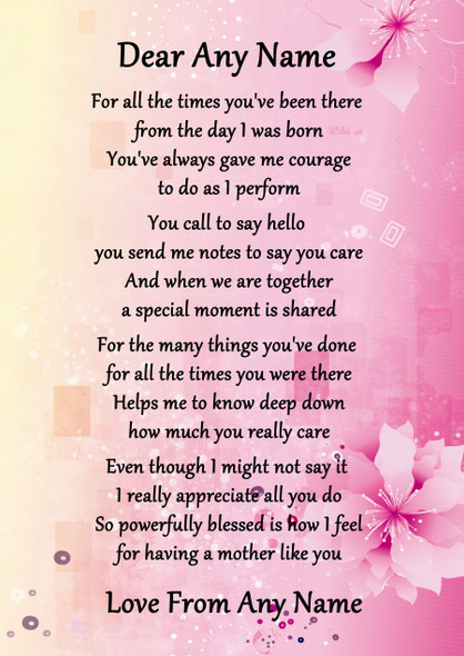Pink & Yellow A Mother Like You Personalised Poem Certificate