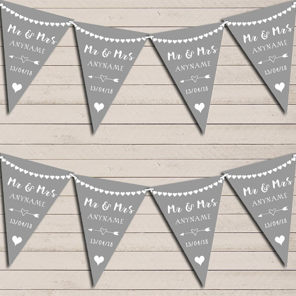 Heart Mr & Mrs Light Silver Grey Wedding Day Married Bunting Party Banner