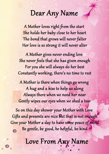 Pink & Yellow A Mothers Bond Personalised Poem Certificate