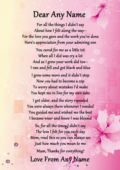 Pink & Yellow Best Mum Award Personalised Poem Certificate