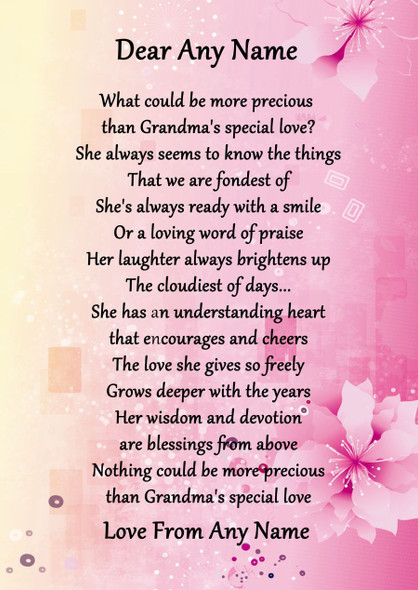Pink & Yellow Grandmas Special Love Personalised Poem Certificate