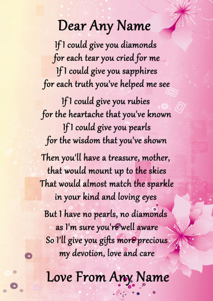 Pink & Yellow Mother If I Could Personalised Poem Certificate