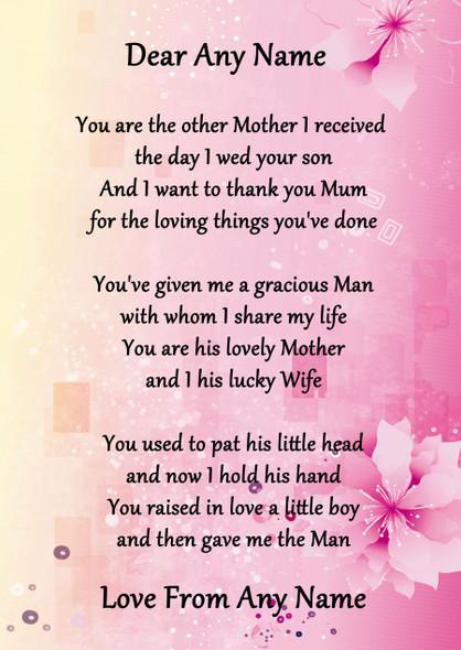 Pink & Yellow My Husbands Mum Personalised Poem Certificate