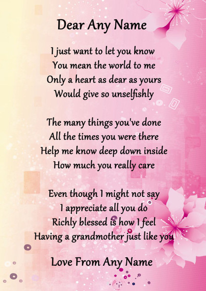 Pink & Yellow My Lovely Grandmother Personalised Poem Certificate