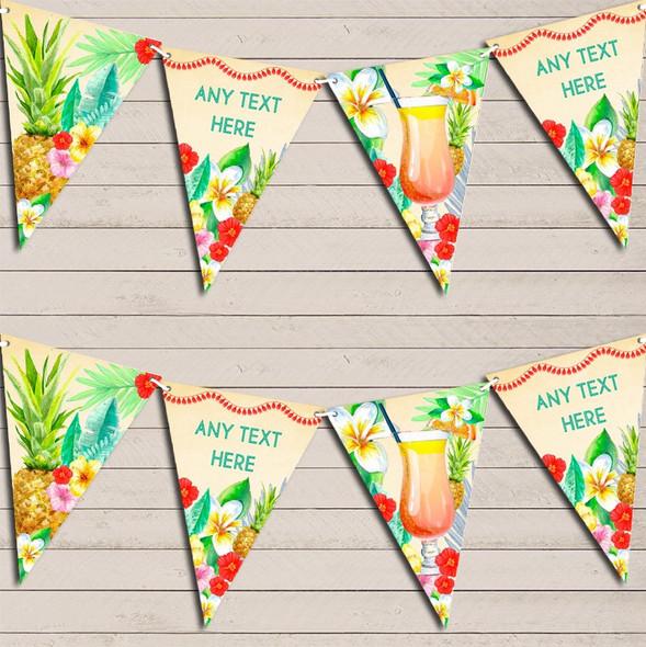 Luau Paradise Hawaiian Beach Party Lei Personalised Birthday Bunting