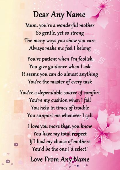 Pink & Yellow Wonderful Mother Personalised Poem Certificate
