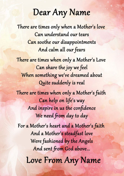 Pink Floral A Mothers Faith Personalised Poem Certificate