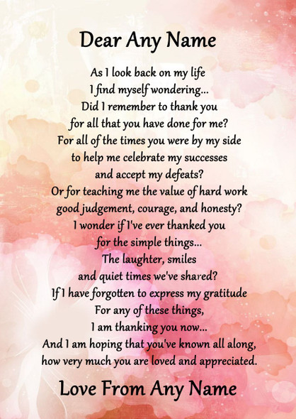 Pink Floral All You Have Done For Me Personalised Poem Certificate