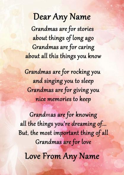 Pink Floral Grandmas Are For Love Personalised Poem Certificate