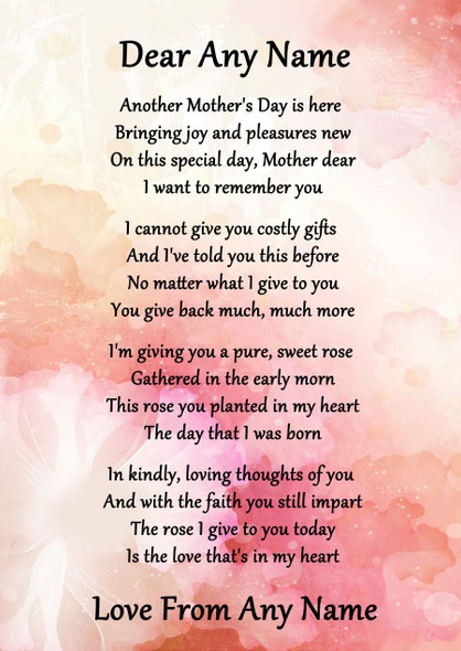 Pink Floral Mothers Day Personalised Poem Certificate