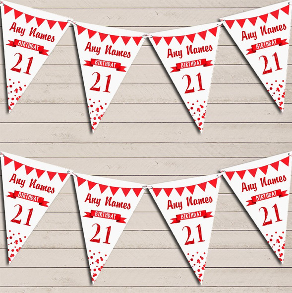 Any Age Birthday 18Th 21st 30th 40th 50th 60th Red Birthday Bunting