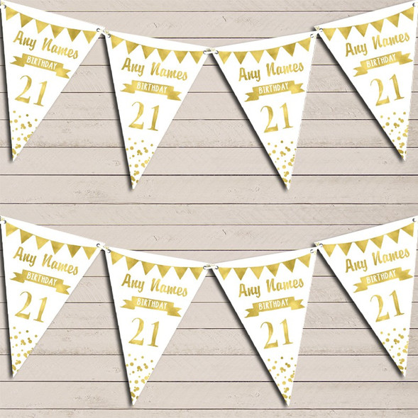 Any Age Birthday 18Th 21st 30th 40th 50th 60th White & Gold Birthday Bunting