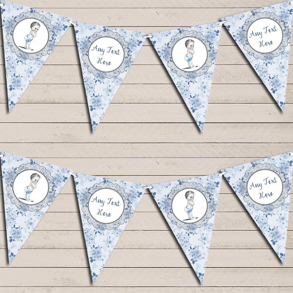 Floral Shabby Chic Vintage Baby Boy Blue Personalised Baby Shower Bunting
