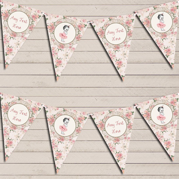 Floral Shabby Chic Vintage Baby Girl Pink Personalised Baby Shower Bunting
