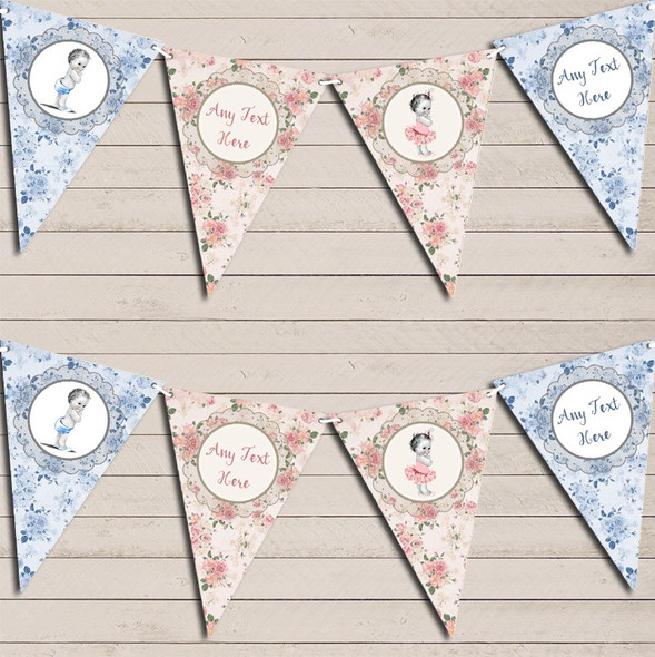 Girl Boy Twins Floral Shabby Chic Vintage Baby Personalised Baby Shower Bunting