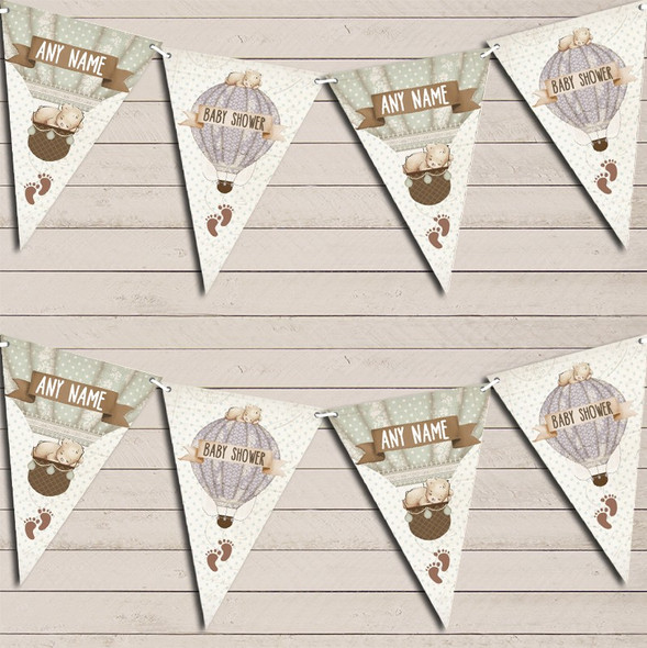 Hot Air Balloon Teddy Bear Vintage Baby Shower Personalised Baby Shower Bunting
