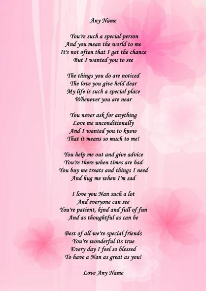 Pink Floral Nan Personalised Poem Certificate