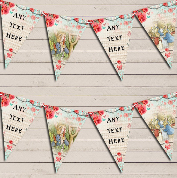 Peter Rabbit Rustic Vintage Shabby Chic Floral Personalised Baby Shower Bunting