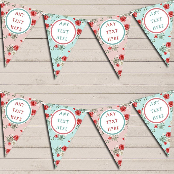 Pink Blue Roses Shabby Chic Personalised Baby Shower Bunting
