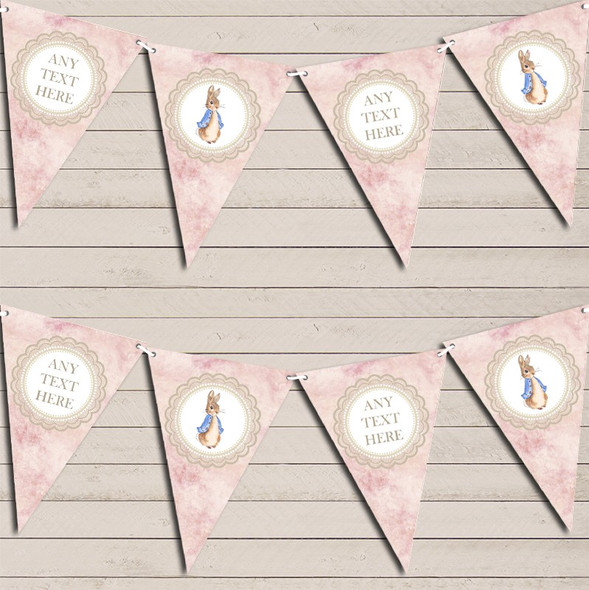 Pretty Pink Peter Rabbit Personalised Baby Shower Bunting