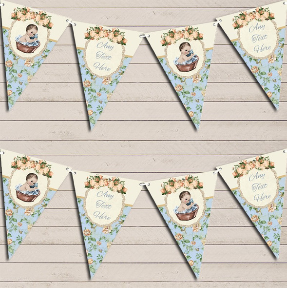 Shabby Chic Floral Vintage Baby Boy Personalised Baby Shower Bunting