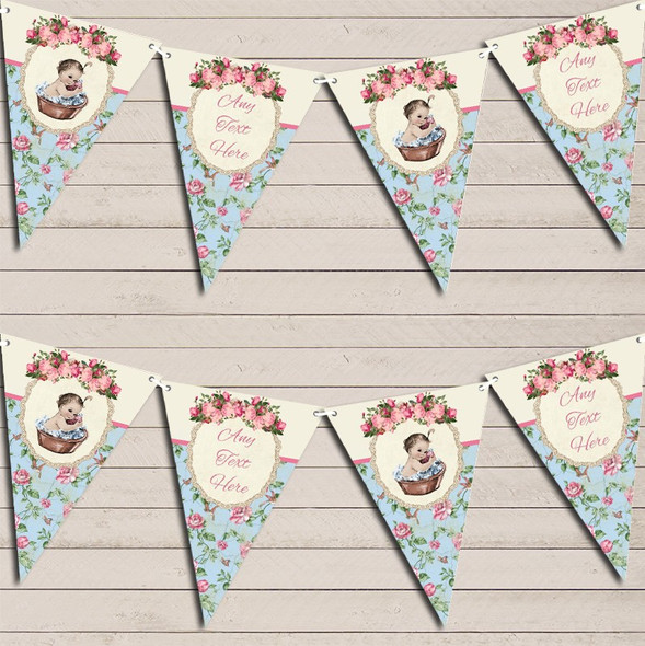 Shabby Chic Floral Vintage Baby Girl Personalised Baby Shower Bunting