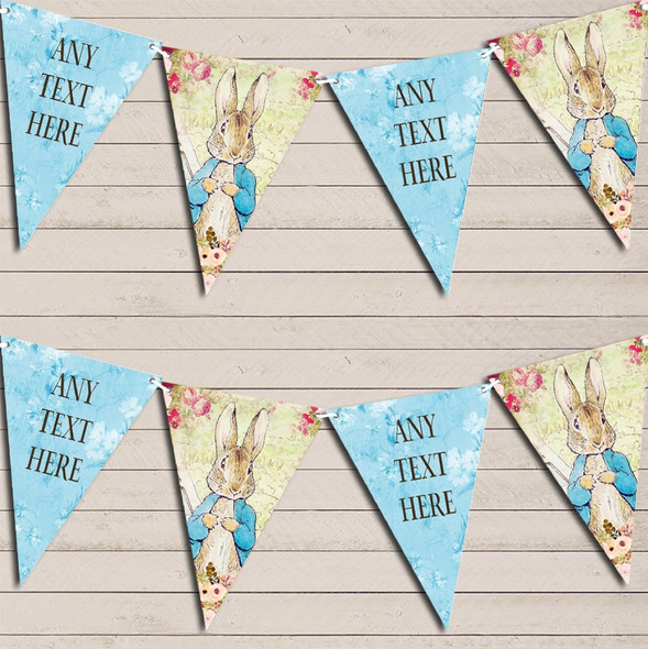 Shabby Chic Vintage Peter Rabbit Blue Personalised Baby Shower Bunting