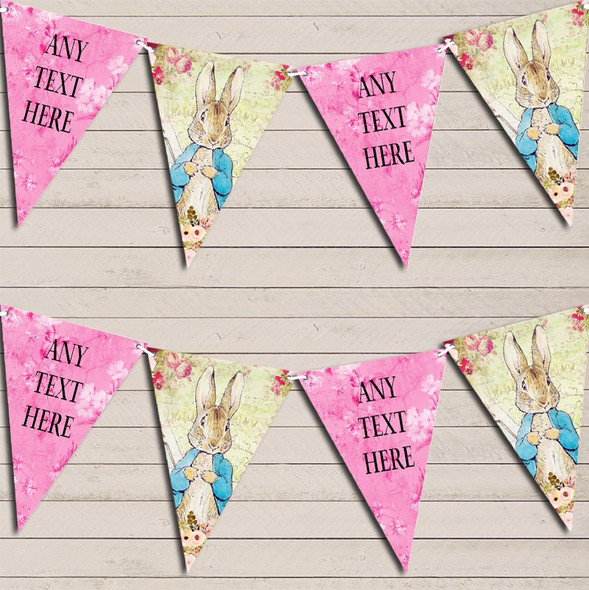 Shabby Chic Vintage Peter Rabbit Pink Personalised Baby Shower Bunting
