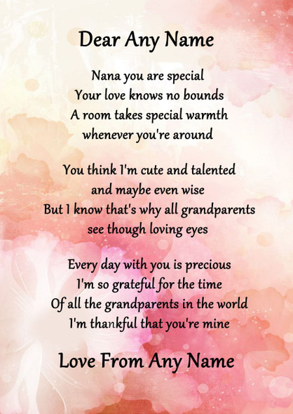 Pink Floral Nana You Are Special Personalised Poem Certificate