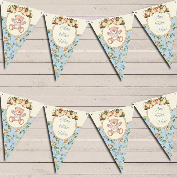 Teddy Bear Shabby Chic Floral Blue Boys Personalised Baby Shower Bunting