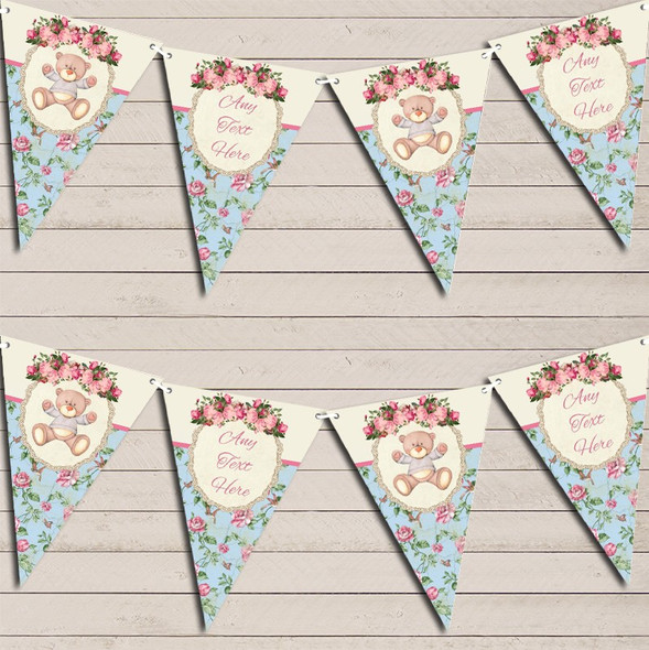 Teddy Bear Shabby Chic Floral Pink Girls Personalised Baby Shower Bunting