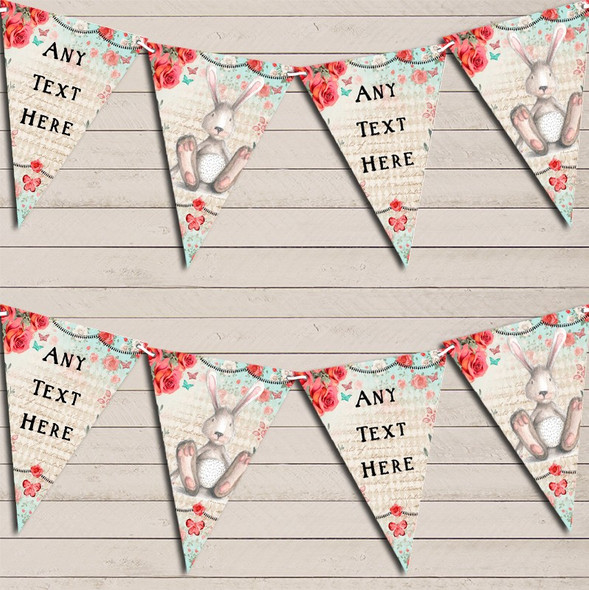 Vintage Shabby Chic Floral Bunny Rabbit Personalised Baby Shower Bunting