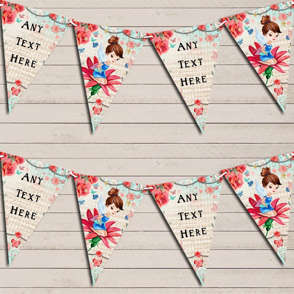 Vintage Shabby Chic Floral Fairy Personalised Baby Shower Bunting