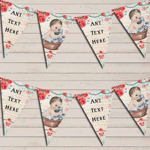Vintage Shabby Chic Floral Light Skinned Boy Personalised Baby Shower Bunting