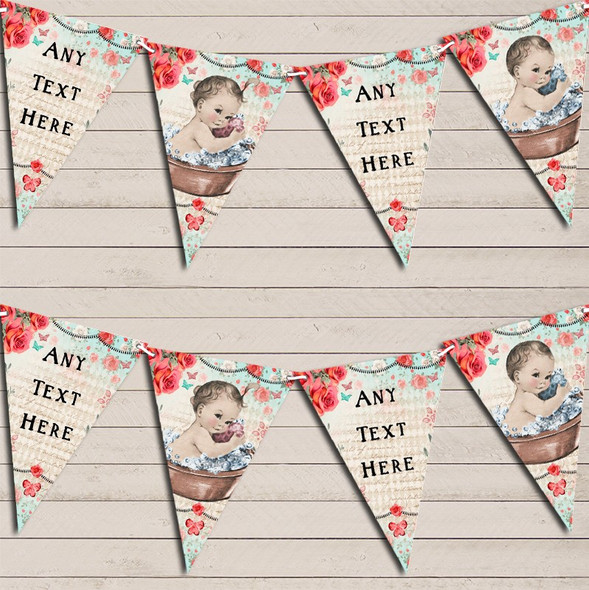 Vintage Shabby Chic Floral Light Skinned Girl Boy Twins Baby Shower Bunting