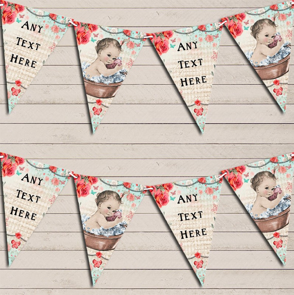 Vintage Shabby Chic Floral Light Skinned Girl Personalised Baby Shower Bunting