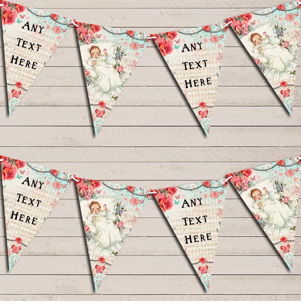 Vintage Shabby Chic Floral Pink Blue Baby Roses Personalised Baby Shower Bunting