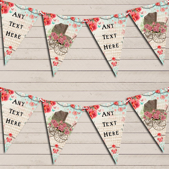 Vintage Shabby Chic Floral Rustic Baby Pram Personalised Baby Shower Bunting