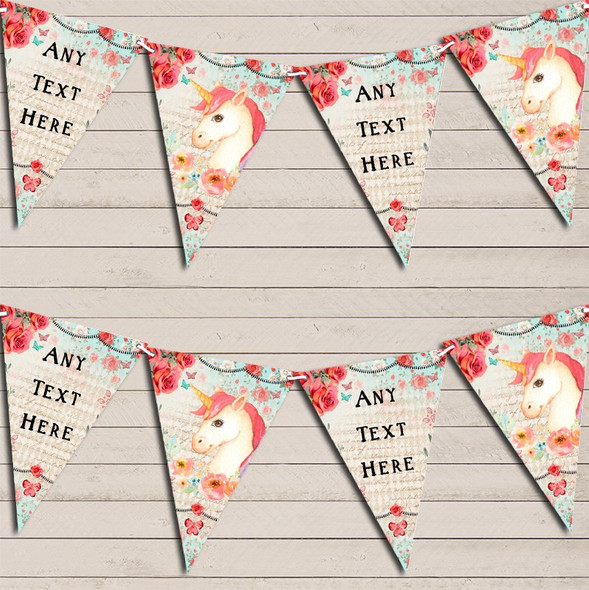 Vintage Shabby Chic Floral Unicorn Personalised Baby Shower Bunting