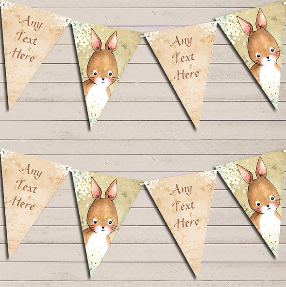 Vintage Woodland Baby Bunny Rabbit Rustic Personalised Baby Shower Bunting