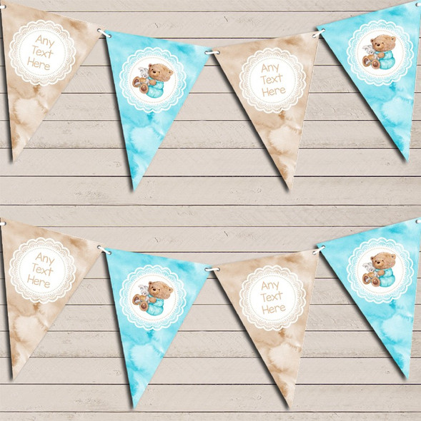 Watercolour Bear & Bunny Blue Boys Personalised Baby Shower Bunting