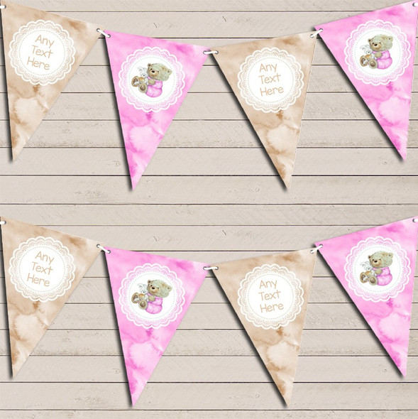Watercolour Bear & Bunny Pink Girls Personalised Baby Shower Bunting