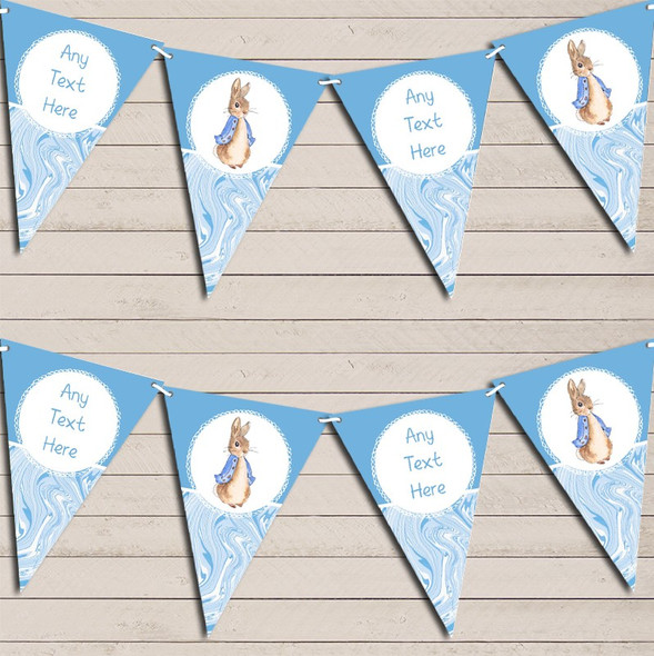 Baby Blue Peter Rabbit Marble Personalised Baby Shower Bunting