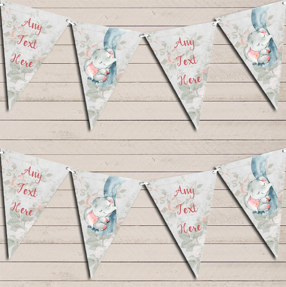 Baby Elephant In Trunk Personalised Baby Shower Bunting