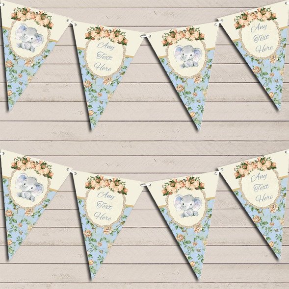 Baby Elephant Shabby Chic Floral Blue Boys Personalised Baby Shower Bunting