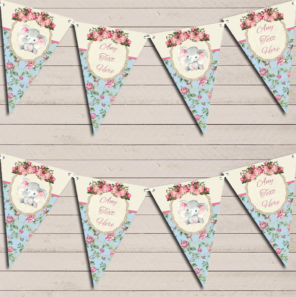 Baby Elephant Shabby Chic Floral Personalised Baby Shower Bunting