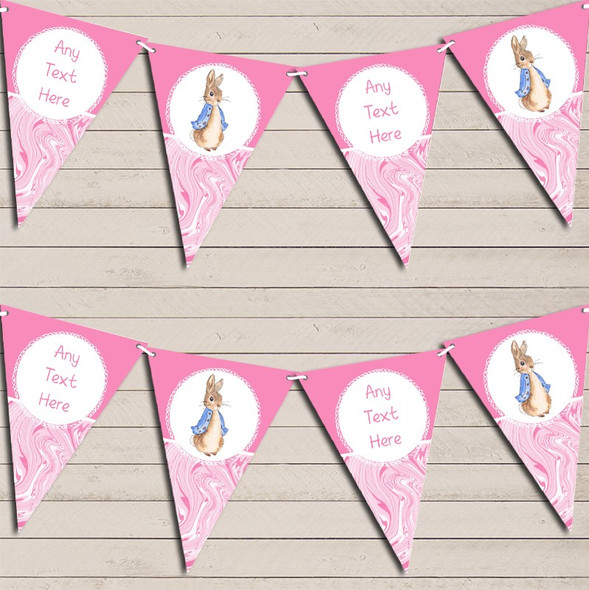 Baby Pink Peter Rabbit Marble Personalised Baby Shower Bunting