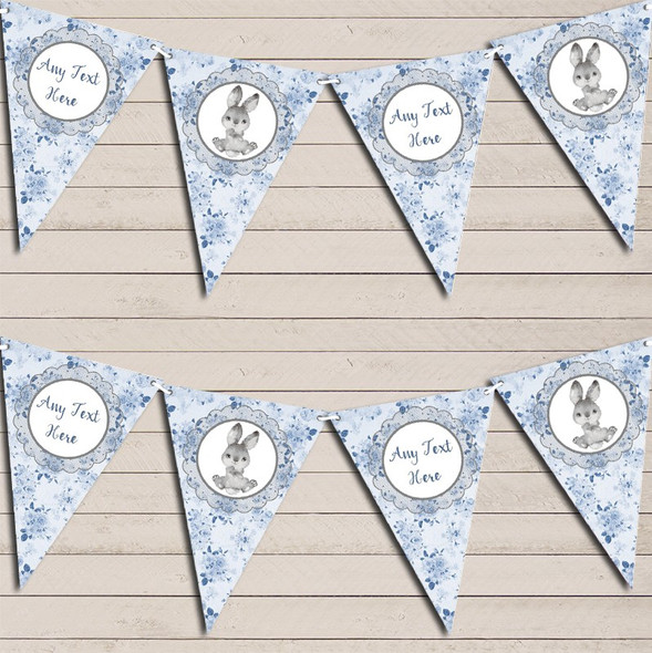 Bunny Baby Rabbit Blue Boys Personalised Baby Shower Bunting